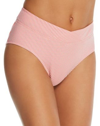 Seersucker Striped Mid Rise Bikini Bottom by Lauren Ralph Lauren