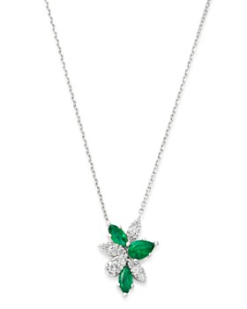"""Bloomingdale's - Emerald & Diamond Pendant Necklace in 14K White Gold, 16"""" - 100% Exclusive"""