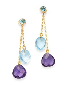 Bloomingdale's - Amethyst & Blue Topaz Drop Earrings in 14K Yellow Gold - 100% Exclusive