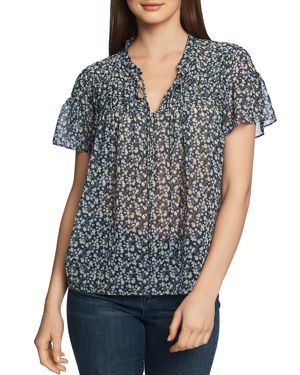 Image of 1.state Cinched Floral-Print Top