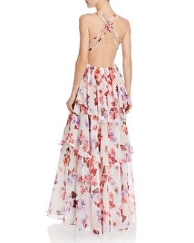 Fame and Partners - Tiered Floral Gown