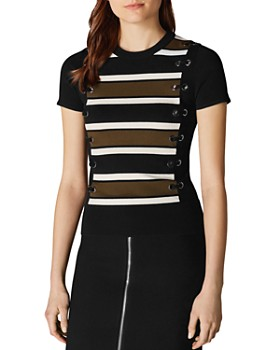 f23f38ee6de589 KAREN MILLEN - Striped-Front Lace-Up Top ...