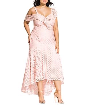 City Chic Plus Femme Fatale Lace Maxi Dress