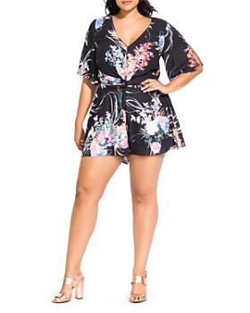 8639daf5b70 City Chic Plus - Floral-Print Romper ...