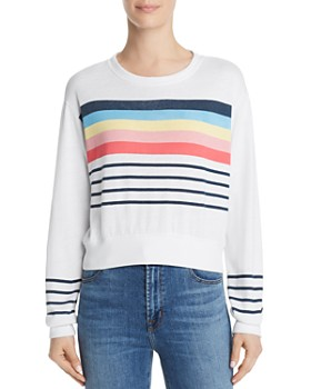 Sundry - Striped Detail Cropped Sweatshirt