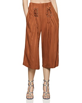 BCBGENERATION - Lace-Up Cropped Wide-Leg Pants