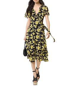 MICHAEL Michael Kors - Floral-Print Midi Wrap Dress
