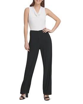 Donna Karan - Sleeveless Contrast Jumpsuit