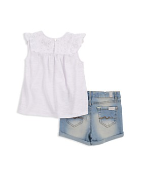 7 For All Mankind - Eyelet Tank & Denim Shorts Set - Baby