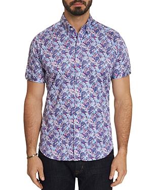 Robert Graham T-shirts PALADIN SHORT-SLEEVE FLORAL-PRINT SLIM FIT SHIRT