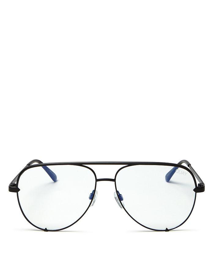 hot sale new cheap best website Quay Women's High Key Blue Light Aviator Sunglasses, 56mm In Black ...