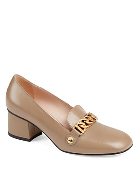 Gucci - Women's Sylvie Leather Block Heel Loafers