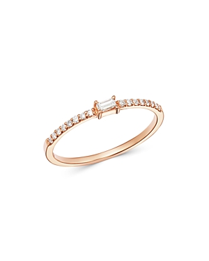 Own Your Story 14K Rose Gold Linear Baguette & Round Diamond Ring