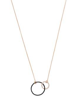 "OWN YOUR STORY - 14K Rose Gold Geometry Black & White Diamond Interlocking Circles Necklace, 18"""