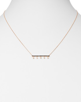 """OWN YOUR STORY - 14K Rose Gold Nature Black & White Diamond Bar Necklace, 18"""""""