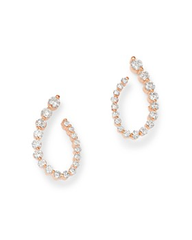 OWN YOUR STORY - 14K Rose Gold Flow Graduated Diamond Front-to-Back Curl Earrings