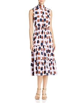 kate spade new york - Geo Squares Tie-Neck Dress