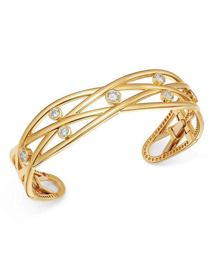 Roberto Coin - 18K Gold Baci Diamond Bangle Bracelet