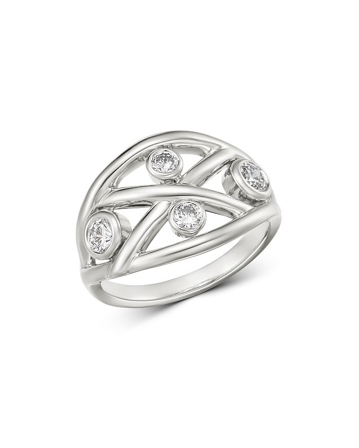 Roberto Coin - 18K White Gold Diamond Baci Ring