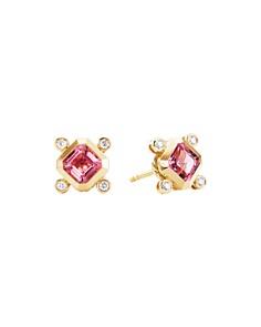 David Yurman - 18K Yellow Gold Novella Stud Earrings with Pink Tourmaline & Diamonds