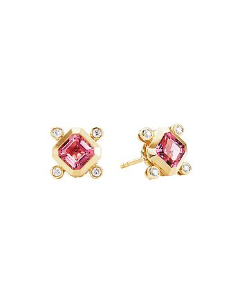 David Yurman - 18K Yellow Gold Novella Stud Earrings with Pink Tourmaline & Diamonds