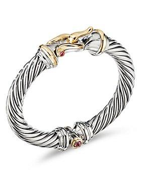 David Yurman - Sterling Silver & 18K Yellow Gold Cable Buckle Bracelet with Rhodalite Garnet