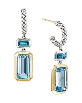 8fc54b05146 David Yurman - Sterling Silver Novella Drop Earrings with Blue Topaz   18K  Yellow Gold ...