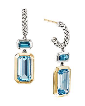 David Yurman - Sterling Silver Novella Drop Earrings with Blue Topaz & 18K Yellow Gold