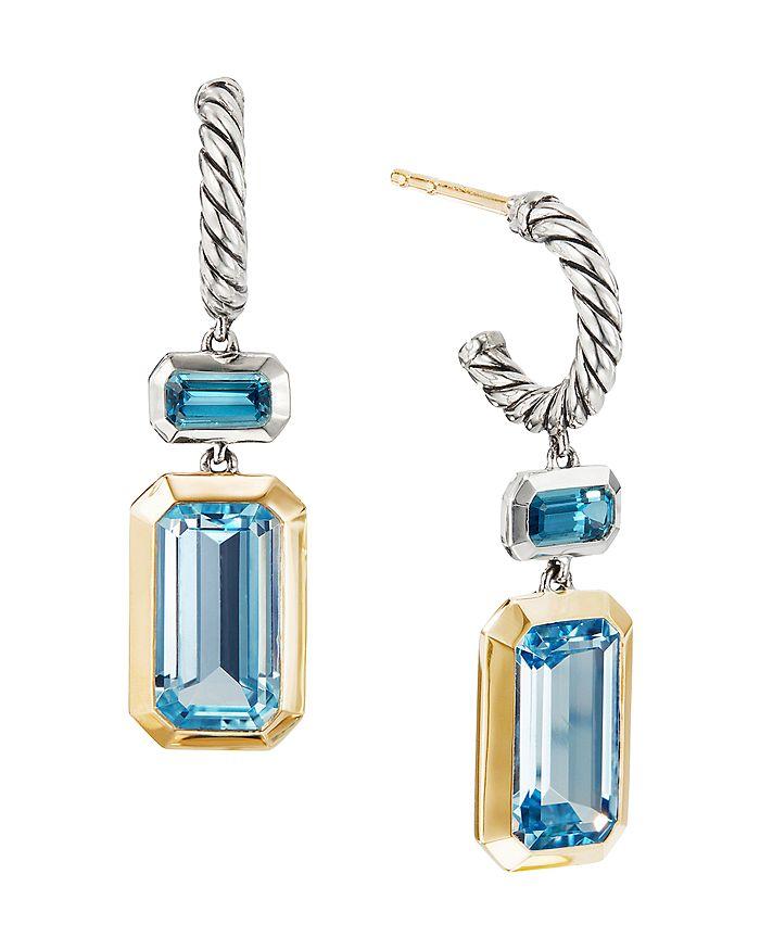 7816367f4 David Yurman - Sterling Silver Novella Drop Earrings with Blue Topaz & 18K  Yellow Gold