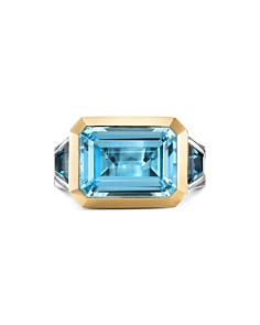 David Yurman - Sterling Silver Novella Three-Stone Ring with Blue Topaz & 18K Yellow Gold