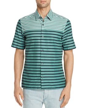 BOSS Hugo Boss - Lukka Short-Sleeve Striped Color-Block Slim Fit Shirt