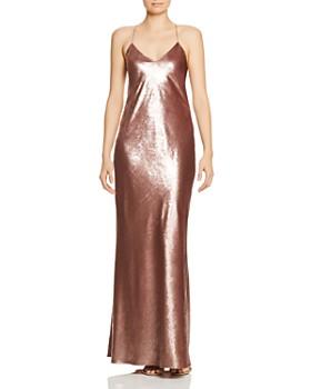 Michelle Mason - Metallic Open-Back Gown