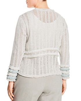 NIC and ZOE Plus - Fringe-Trim Knit Jacket