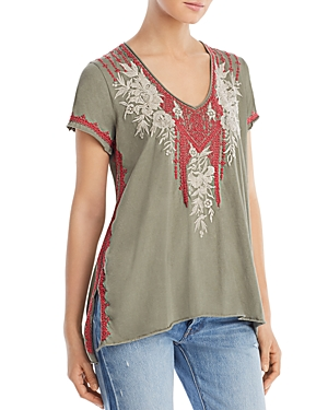 Johnny Was Tops CAMILLE EMBROIDERED TEE
