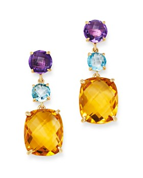 Bloomingdale's - Multi-Gemstone Drop Earrings in 14K Yellow Gold - 100% Exclusive