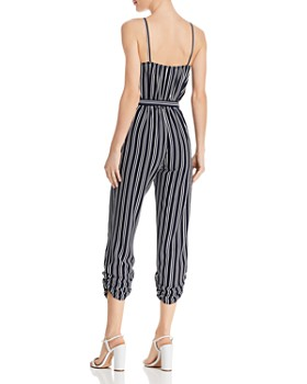 AQUA - Striped Wrap Jumpsuit - 100% Exclusive