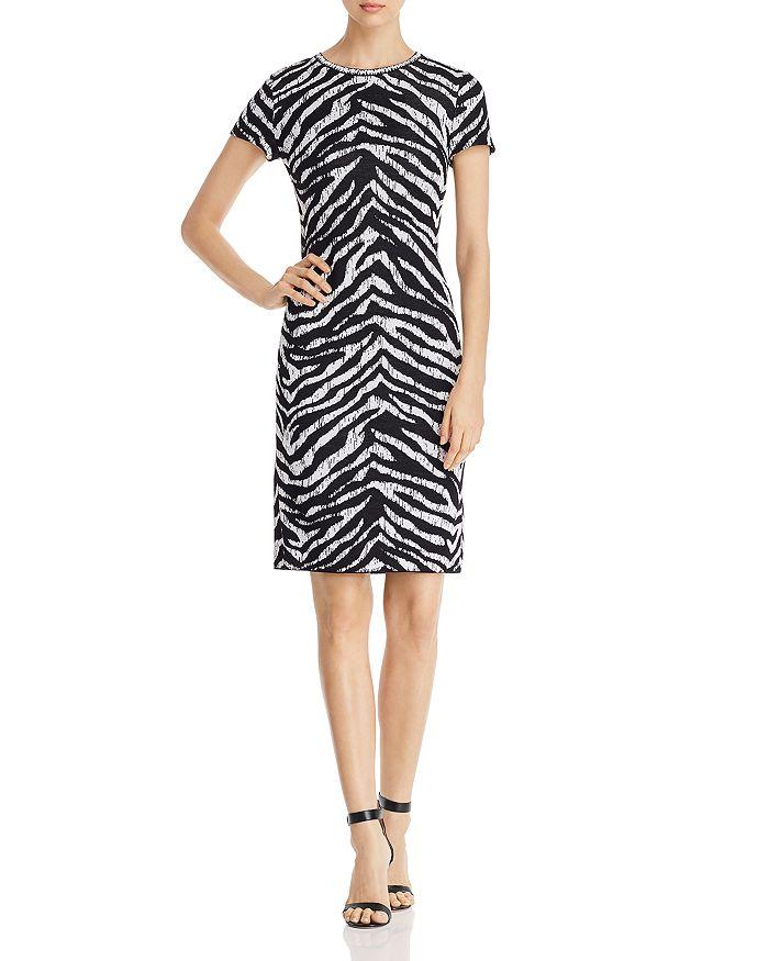 St. John - Zebra Jacquard Sheath Dress