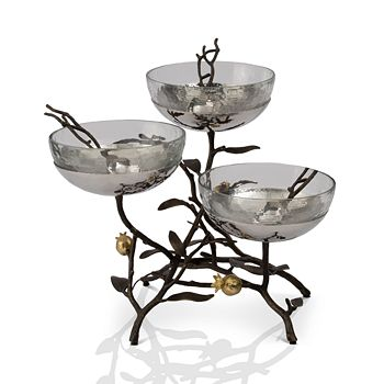 Michael Aram - Pomegranate Triple Glass Bowl Stand & Serving Spoons
