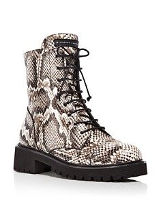 Giuseppe Zanotti - Women's Snake-Print Combat Boots