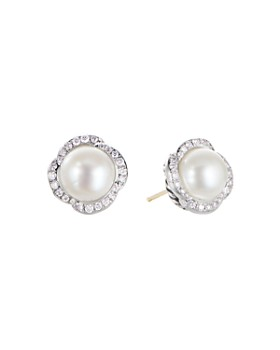 b99843d3fff0 David Yurman - Sterling Silver Continuance Pearl Button Earrings with  Diamonds ...