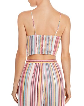 AQUA - Tie-Front Striped Cropped Top - 100% Exclusive