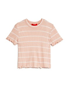 AQUA - Girls' Striped Waffle-Knit Tee, Big Kid - 100% Exclusive