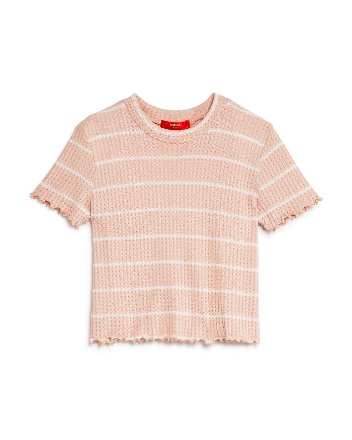 AQUA - Girls' Striped Waffle-Knit Tee, Big Kid - 100% Exclusive