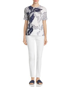 NIC and ZOE - Flora Printed Short-Sleeve Sweater
