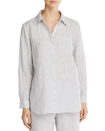 Eileen Fisher - Striped Organic Linen Button-Down Top