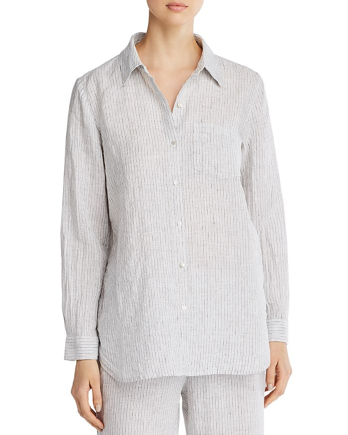 Eileen Fisher Petites - Striped Organic Linen Button-Down Top