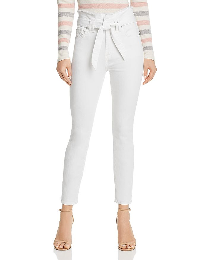 7 For All Mankind - Paperbag-Waist Jeans in White Runway Denim