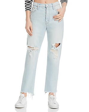Mother Jeans THE HUFFY FLOOD CHEWED-HEM STRAIGHT-LEG JEANS IN REALLY HOT AS HELL