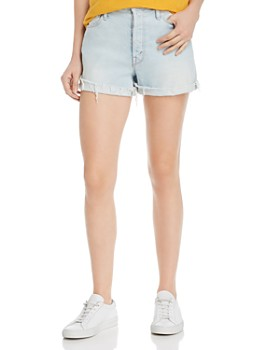 MOTHER - The Proper Distressed Denim Shorts in Hella Hot