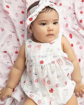 Angel Dear - Girls' Cherry Print Bubble Romper - Baby